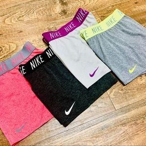 NIKE Girls' Dry Training Shorts Bundle (4 Pair)
